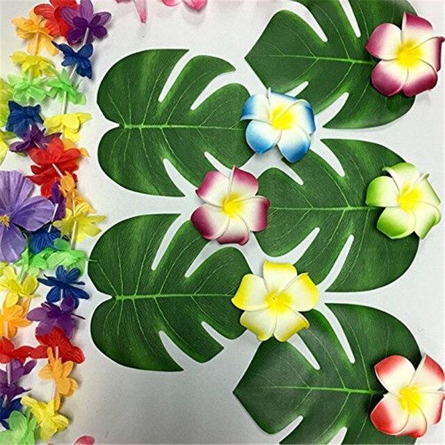 12 Pcs Lot 20x18 Cm Fleur Artificielle Vert Feuille Tropicale Palm