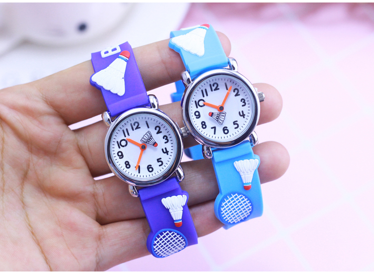 Children's Gift Watch Quartz 3D Strap Cartoon Boys Badminton Watch Pointer Fashion Electronic Waterproof Watch Children's Watch