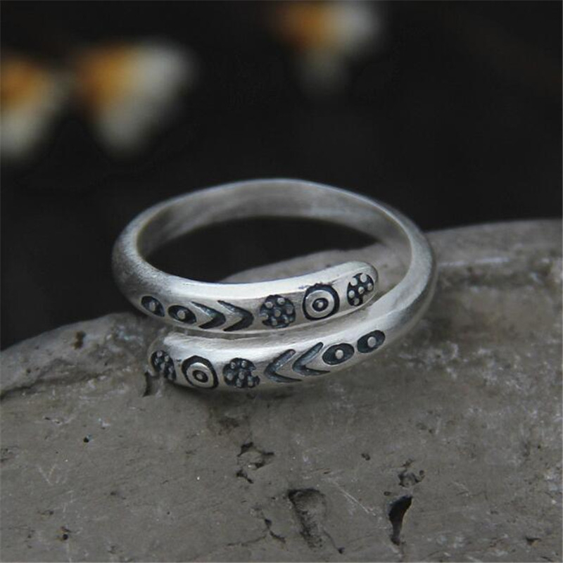 Brand 100% 925 Sterling Silver Carved Rings For Women Vintage Style Lady High Quality Jewelry