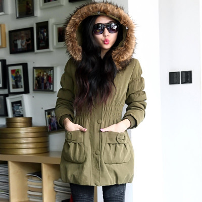 New 2015 Women Fur Hooded Solid Color Wadded Coats Fashion Ladies Cotton Padded Parkas Winter Thicken Jackets Woman H4545 winter parkas women new design elegant ladies fur hooded zipper thicken warm coats