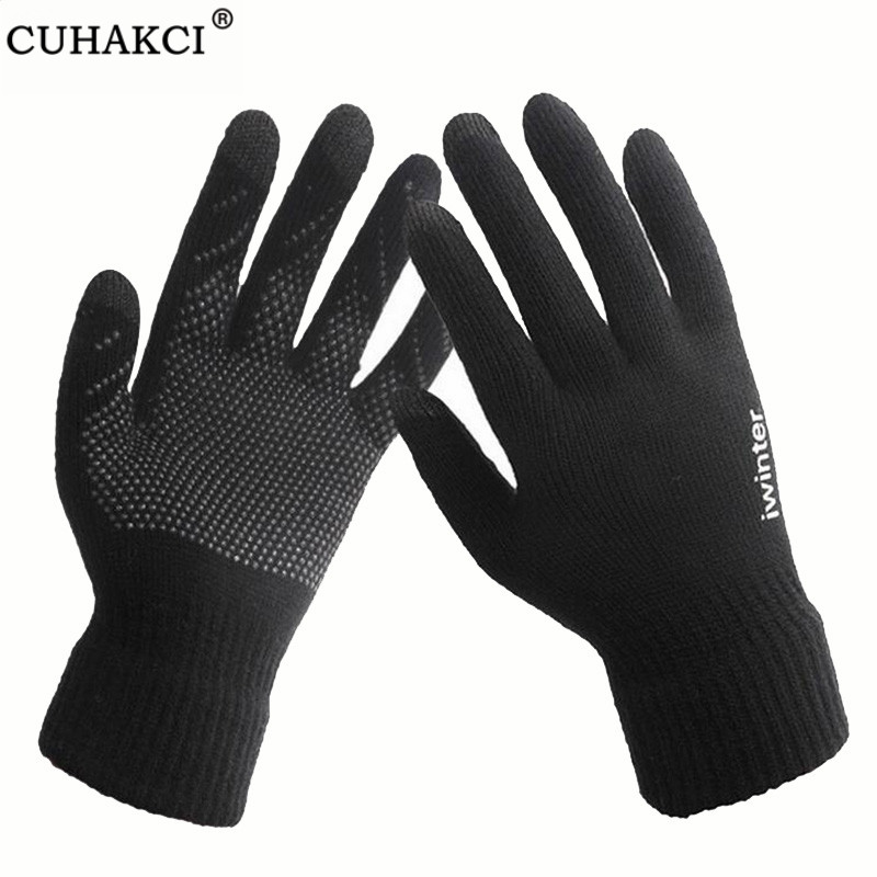 CUHAKCI Non-slip Winter Gloves Wrist Black Touched Screen Mittens Women Skid Gloves Warm Men Print Thick Gym Gloves Top Quality