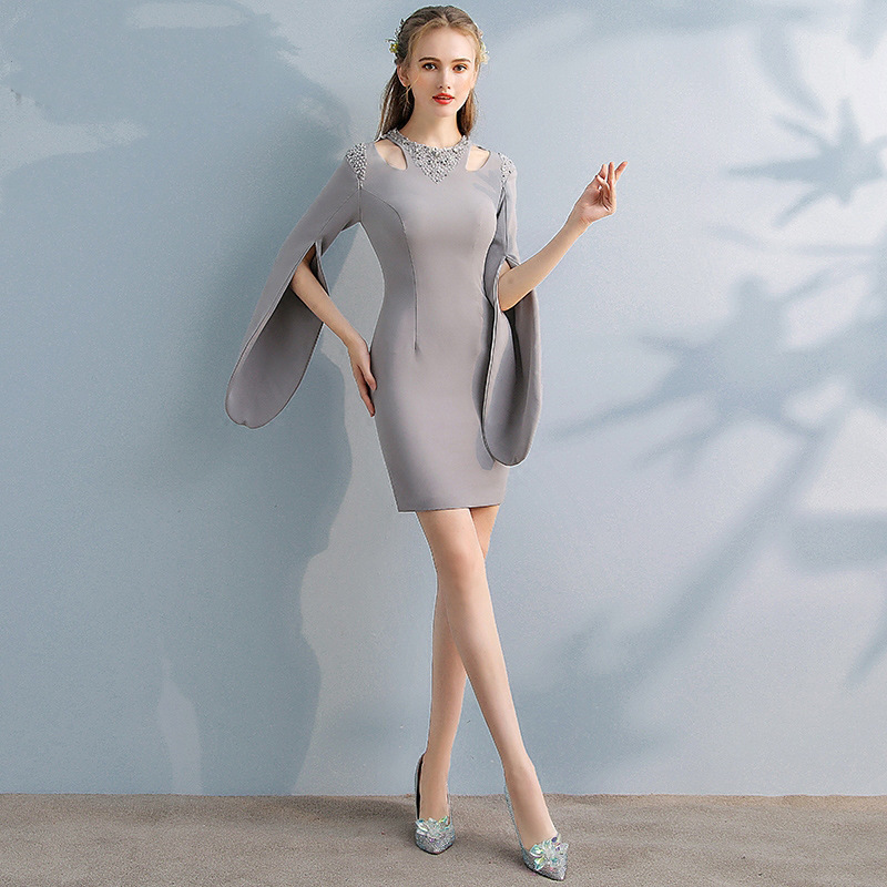 95ebcd64db4b It's YiiYa Elegant Gray Full Cap Sleeve Cut out Sequined Cocktail Dresses  Knee Length Formal Dress Party Gown LX402-in Cocktail Dresses from Weddings  ...