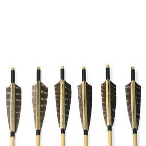 Image 3 - 6 pçs seta de madeira 80cm convencional eixo de madeira com 5 polegada escudo pena para caça tiro com arco e flecha haste