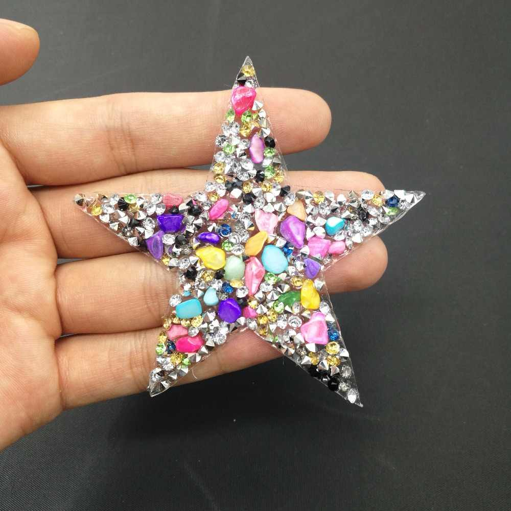 8 cm Star rhinestone applique patches strass motieven crystal stenen applicaties iron patch voor toppe