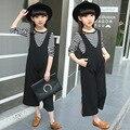 Meninas set 2017 crianças Coreanas cinta larga calças perna terno de duas peças conjunto de roupas meninas