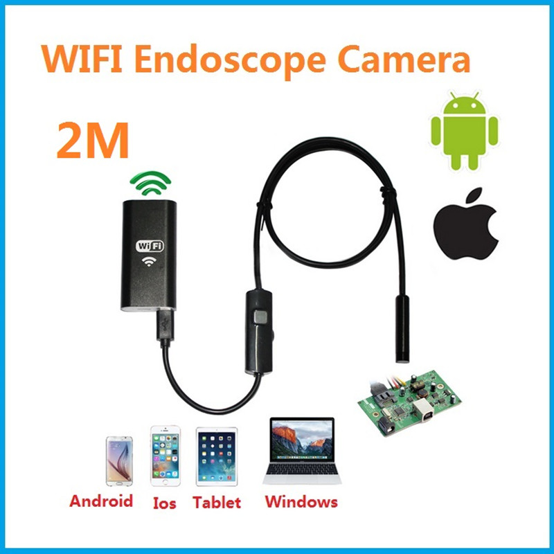 Industrial endoscope WIFI with Android and IOS 720p 6 LED 8mm Waterproof Inspection Borescope Tube Camera with 2M cable no USB 2m 2 0mp 8mm led android endoscope waterproof borescope tube video camera