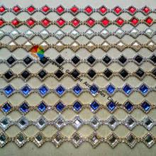 1 ярд 18 мм прозрачный Королевский синий светильник Siam черный жемчуг Бриллиантовая Цепочка с кристаллами в золотистом серебре Набор для DIY browband Свадебные украшения
