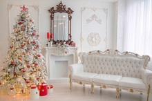 Laeacco Palace Interior Christmas Tree Fireplace Sofa Photography Backgrounds Customized Photographic Backdrops For Photo Studio