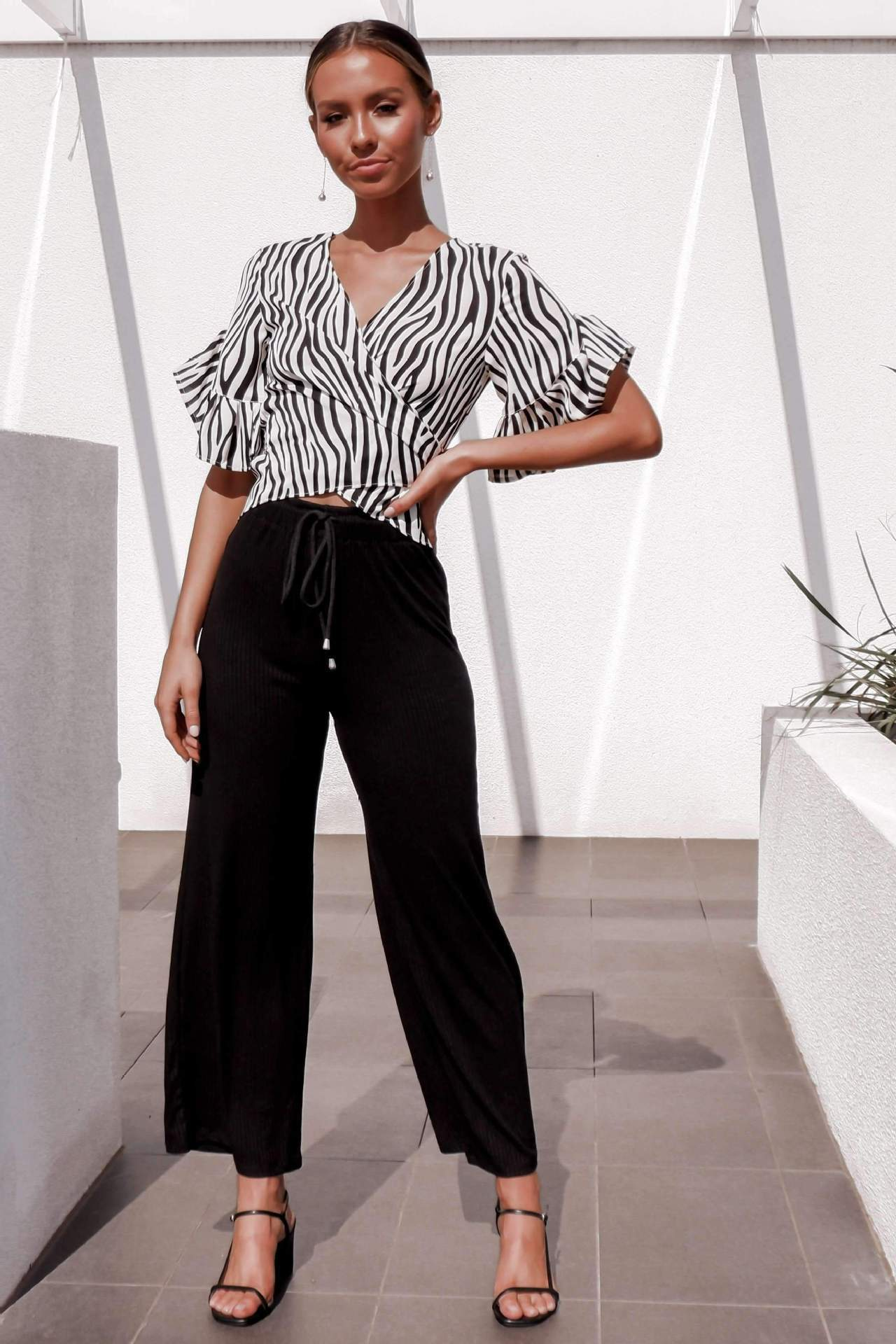 Women Elegant Shirt Print And Zebra Stripes Slim Fit Tops Summer Beach Vacation Navel Sexy Shirts Ruffles Half Sleeve Clothes in T Shirts from Women 39 s Clothing