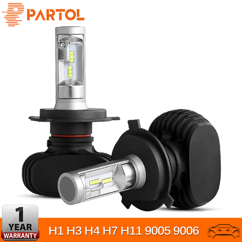Partol Car LED Fog Light Headlight Bulbs H4 50W 8000LM H1 H7 H11 LED 9005 9006 Auto Headlamp CSP Chips 6500K 12V 24V Car Lights
