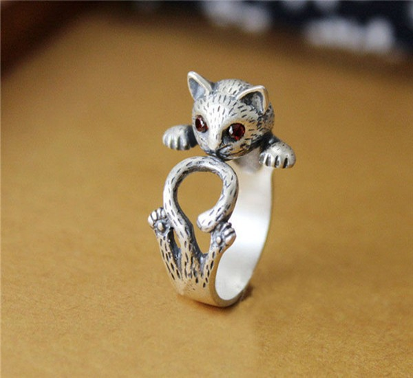 Jisensp Hippie Vintage Punk Kitty Wedding Ring Boho Chic Brass