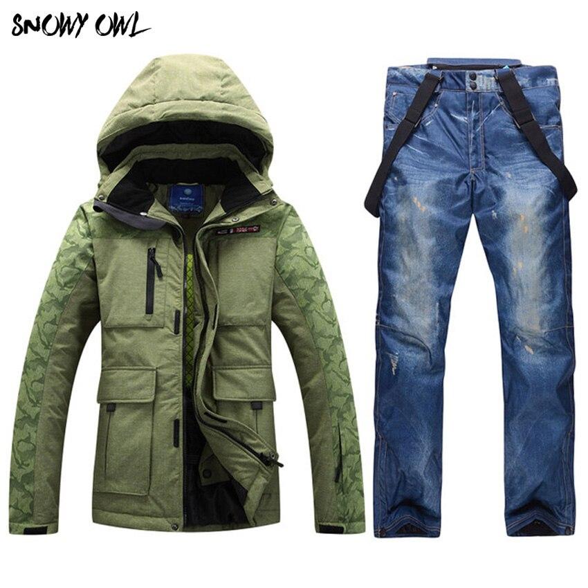 Livraison Gratuite Combinaison De Ski Hommes de Veste + Pantalon Hommes En Plein Air Ski Costume Épaississement Super-Chaud et Imperméable Coupe-Vent de Neige vêtements
