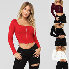 S-XL square collar long sleeve tops autumn winter casual leisure style zipper short