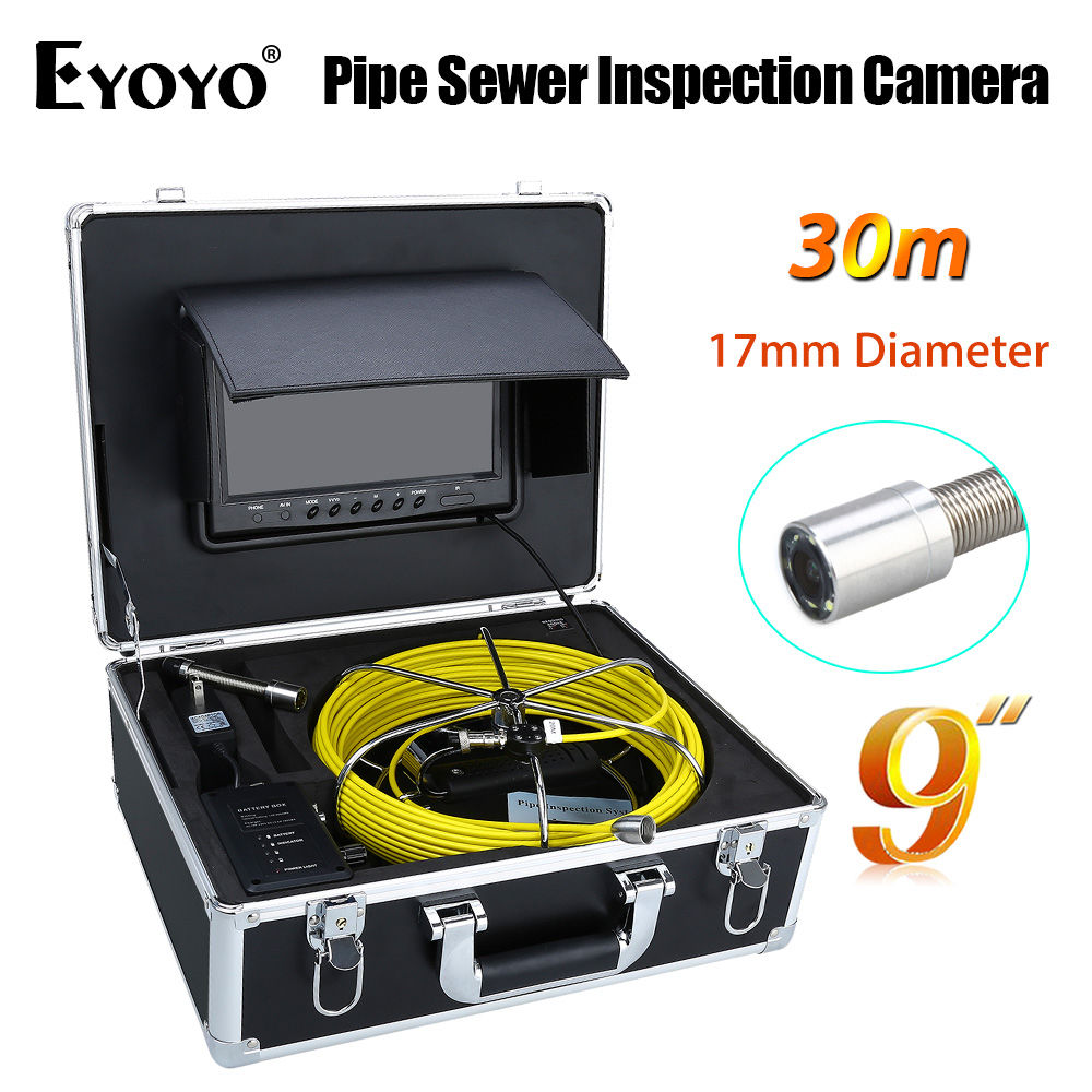 Eyoyo WP90B 30M 9LCD 17mm Pipe Pipeline Drain Inspection Sewer Video Camera CCTV CMOS 1000TVL TFT HD Sun shield 6PCS White LEDS 7 tft sewer pipe inspection snake video camera 600tvl 12 led 30m osd regulation stainless steel lens pipeline drain w2022