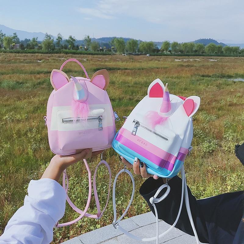 Unicorn Backpack New Fashion Cute Cartoon Backpack Pu Leather Sac A Dos Femme Kawaii Women Girls School Bags Mini Backpacks
