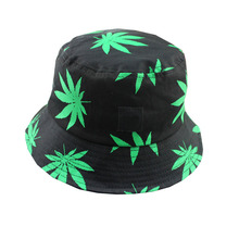 Free Shipping 2017 New Fashion Hip Hop Green White Leaf Print Fishing Caps Weed Bucket Hats For Mens