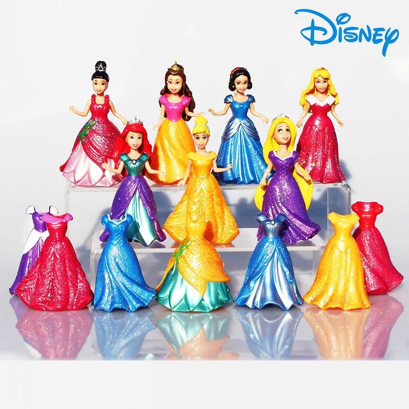 Disney Princess Toys 14pcs/Lot 8cm Pvc Action Figure Snow Shite Frozen Elsa Set Doll Dress Can Change Classic Toys For Girl Gift стоимость