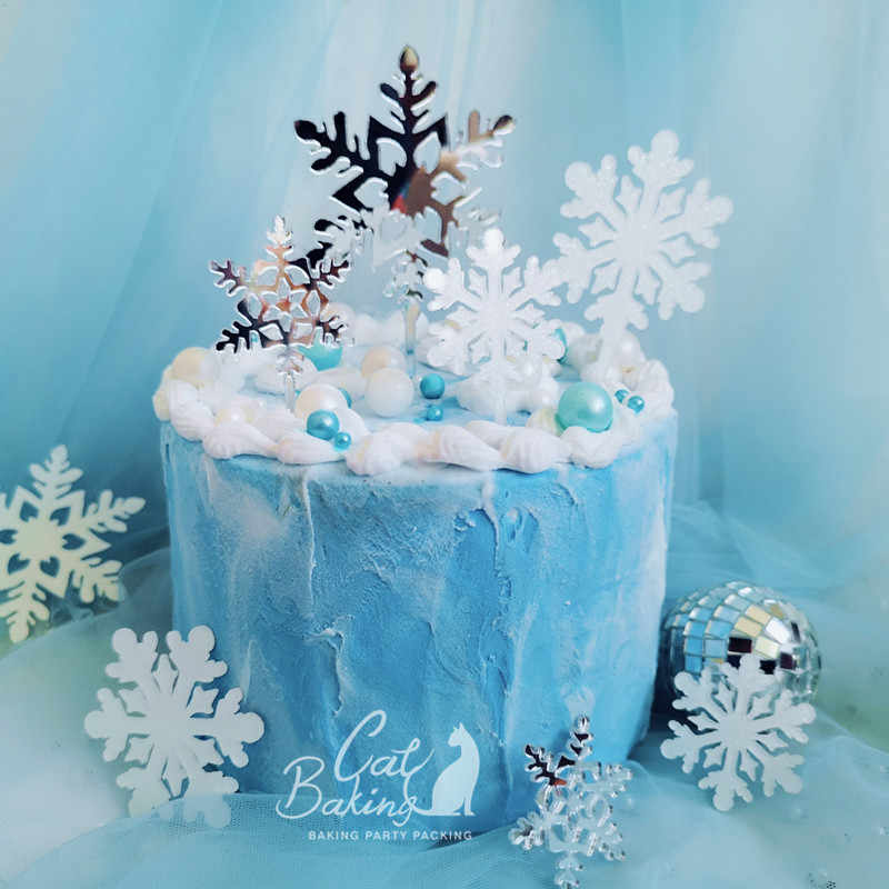 Fabulous Romantic White Silver Snowflake Collection Cake Topper Dessert Funny Birthday Cards Online Alyptdamsfinfo