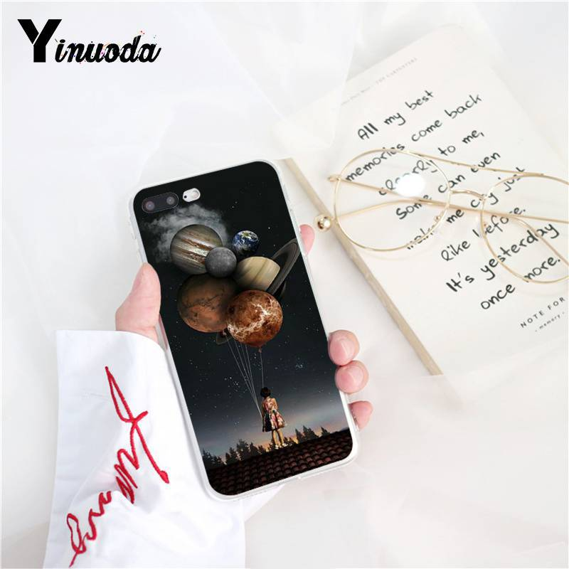 Yinuoda Vintage Trippy Art Books Aesthetic Soft Silicone Phone Case for iPhone X XS MAX  6 6s 7 7plus 8 8Plus 5 5S SE XR 10