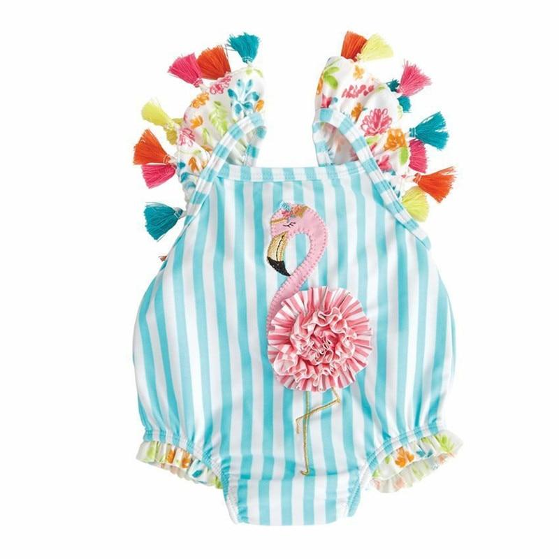 6M-5T Striped Kids Baby Girl Beachwear Bodysuits Summer Girls 3D Flamingo Bathing Beach Bodysuits Blue