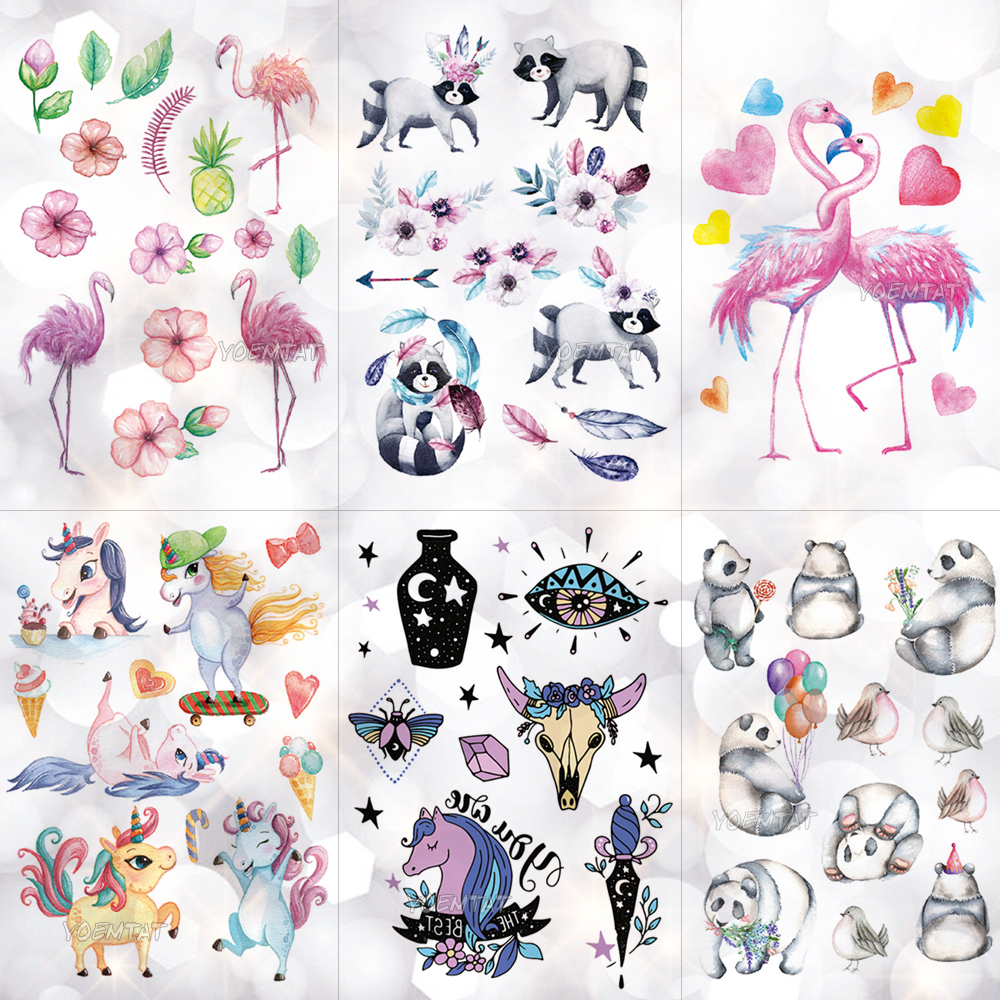 Waterproof Children Cartoon Tattoo Stickers Unicorn Panda Boy Arm Tattoos Temporary Girl Cute Flamingo Horse Flash Tatoos Pony