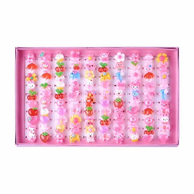100pcs/box Cute Children's Day Jewelry Plastic Kids Rings for Girls, with Mixed