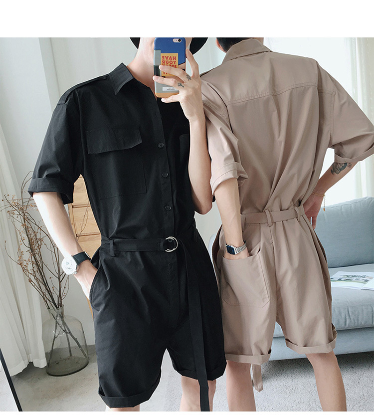 Summer Hip Hop Short Sleeve Rompers Male Loose Tooling Jumpsuit Cotton Punk Baggy Overalls Men Street Dancing Bib Pants A53004