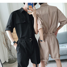 SexeMara men's casual spring and summer jumpsuit overalls male slim one piece