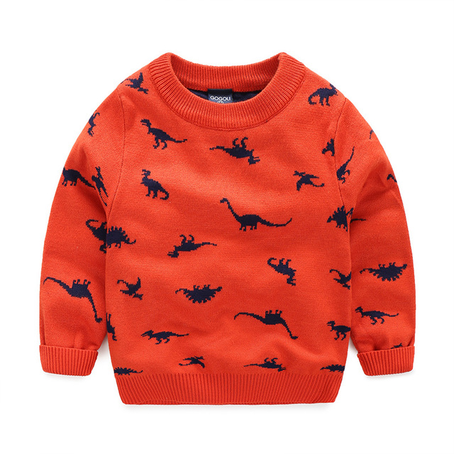 2017 Spring/Autumn New Arrival Sweaters for Boys Dinosaure Printed Children Pattern Sweater Kids Fashion Outerwear 4 Color