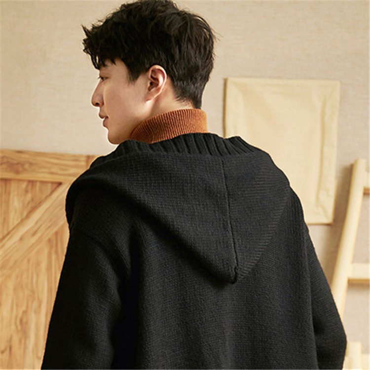 100%hand Made Pure Wool Hooded Knit Men Fashion Solid Loose Single Breasted Cardigan Sweater One&over Size