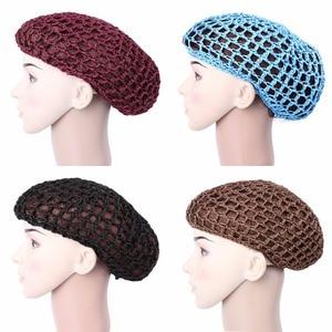 Image 3 - חדש Arriva סרוגה שיער כובע Snoods Mesh Bun כיסוי שינה כפת גולגולת כובע כובע מוסלמי רך