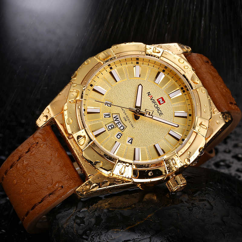 NAVIFORCE Mens Luxury Brand Gold Men Waterproof Sports Casual Quartz Watches Military Wrist watch Clock Male Relogio Masculino