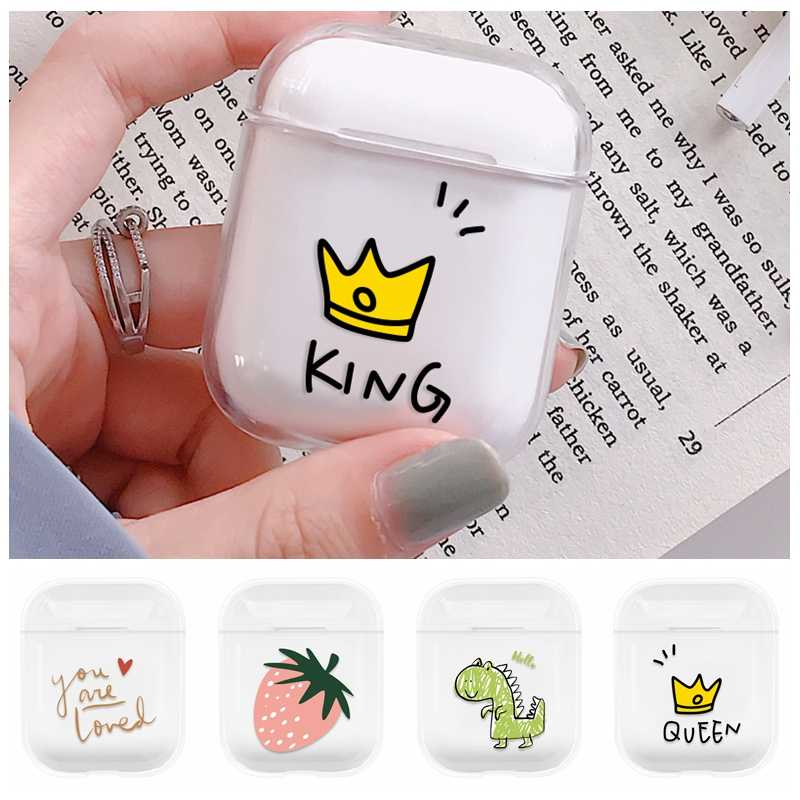 King Queen Fashion Hard PC For Apple AirPods Case Wireless Bluetooth Earphone Protective Cartoon Cover For Airpods Charging Box