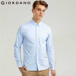 05f2c7f21fa77d Giordano Men Slim Casual Shirts Color Oxford Chemise Homme