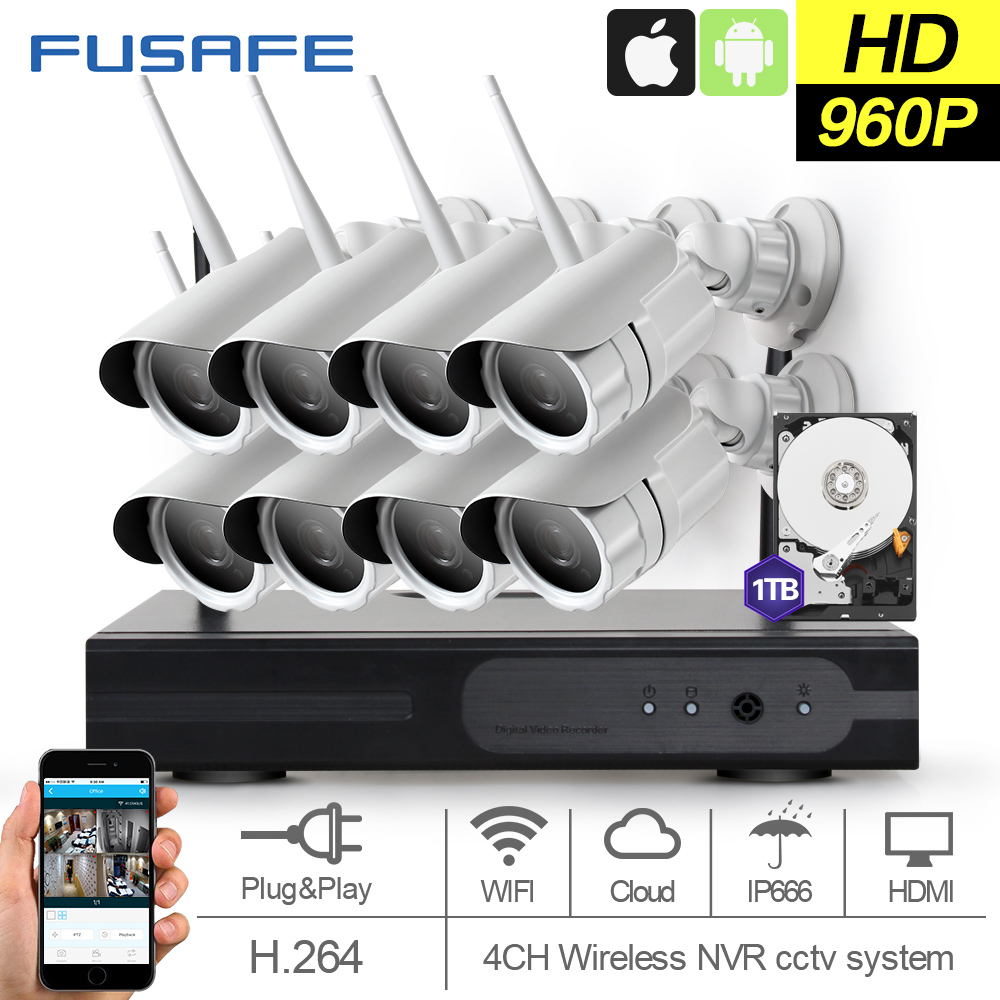 FUSAFE 8CH HD 960P Surveillance cameras wireless IP camera wifi with 1TB HDD Outdoor Waterproof CCTV Home Surveillance System 4pcs 960p hd cameras