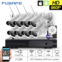 FUSAFE 8CH HD 960P Surveillance cameras wireless IP camera wifi with 1TB HDD Outdoor Waterproof CCTV Home Surveillance System