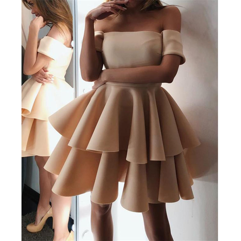 Cute A-line Off The Shoulder Ruffles Homecoming Dresses Short3
