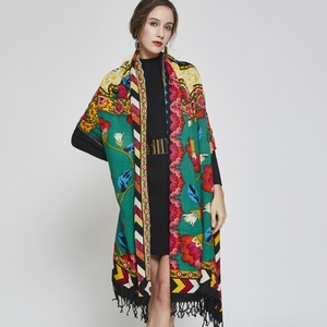 Image 2 - 2019 럭셔리 브랜드 대형 Pashmina 패션 스카프와 Shawls 따뜻한 스카프 여성 이슬람 Hijab 캐시미어 판초 케이프 울 목도리 랩