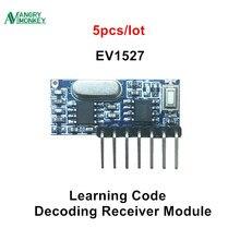 5 חתיכות 433 mhz RF מקלט למידה קוד מפענח מודול 433 mhz אלחוטי 4 ערוץ פלט ערכת Diy מרחוק 1527 קידוד