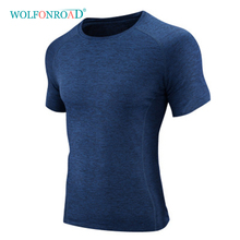 WOLFONROAD Summer Men's Quick Dry T Shirts Running Fitness Tops Thin Elastic Sport Tee Shirts Outdoor Male Shirts L-QZKYS-003