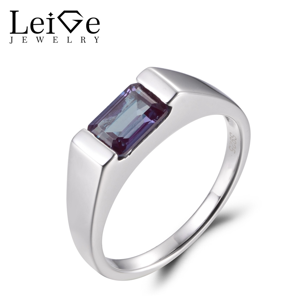 LeiGe Jewelry Alexandrite Anniversary Rings Unique Rings June Birthstone Emerald Cut Color Changing Stone 925 Sterling Silver