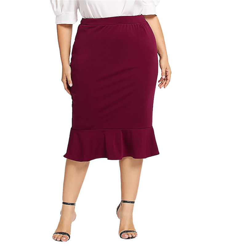 Женские юбки больших размеров, модные повседневные юбки с эластичной резинкой на талии, Однотонная юбка с оборками в форме русалки для деву...