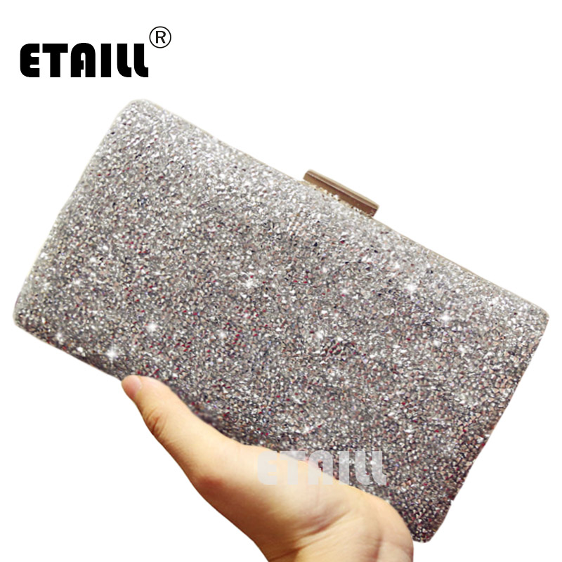 ETAILL Silver Luxury Brand Crystal Diamond Clutch Bags 2017 Women Evening Bags Designer Sparkly Party Clutch With Long Chain long fashion crystal evening bags designer clutch famous brand women golden evening bags with chain women shoulder bag sc519