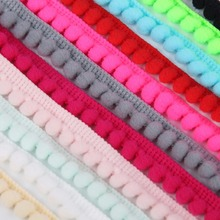 FENGRISE Sewing Accessories 10 yards 10mm Lace Pompom Trim Pom Pom Tassel Ball Fringe Ribbon DIY Materials Apparel Fabric Cord