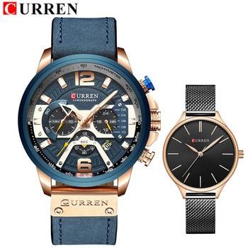 CURREN Top Brand Quartz Genuine Leather Men Lovers Watch Men & Women Clock Steel Women Wristwatches Couple Watches Set