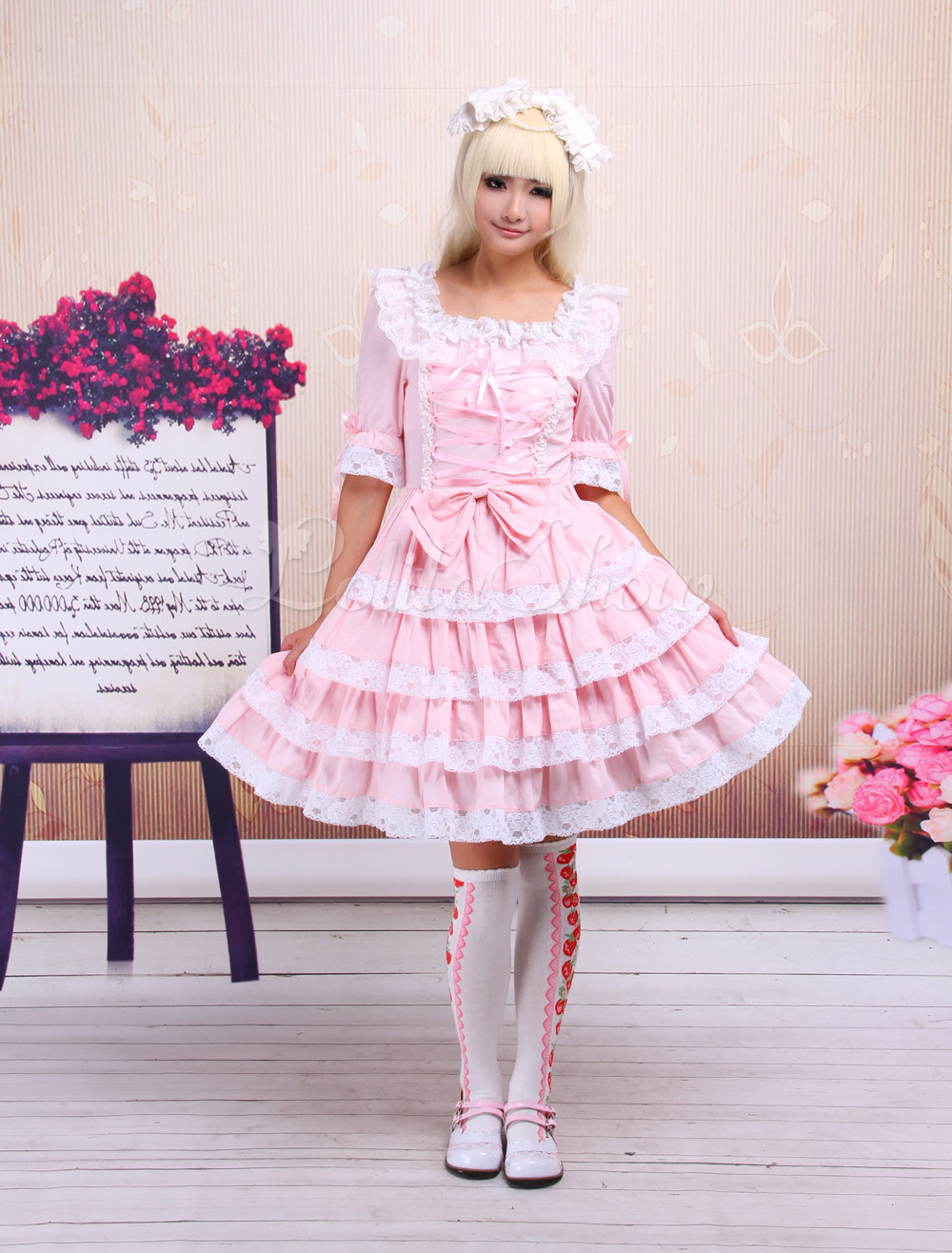 Free Shipping Cotton Pink Lace Front Ties Detachable Sleeves Sweet Lolita Dress Cosplay Costume