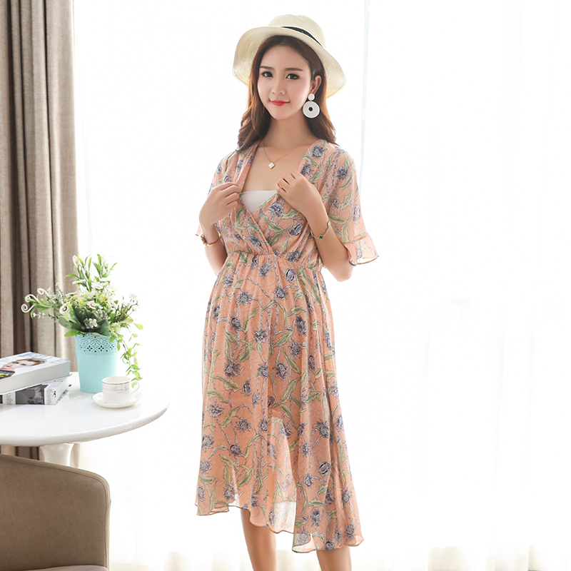 1e023dcb93f9 New Style Floral Printed Chiffon Maternity Nursing Dress Summer Boho Beach  Long Breastfeeding Floral Dress Clothes for Pregnant