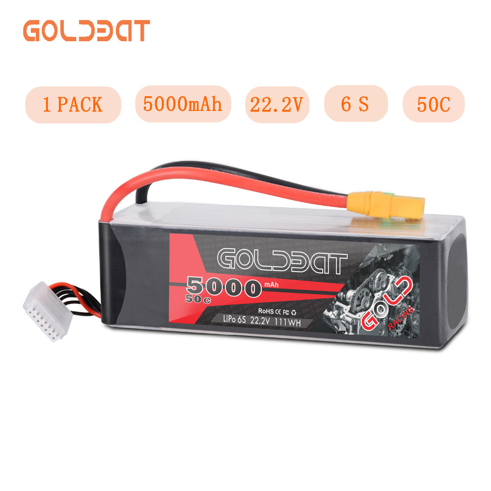 GOLDBAT 5000mAh LiPo Battery 22.2V 6S RC LiPo Battery for rc car LiPo 6S lipo 50C with XT90 For RC Heli Drone Car Boat