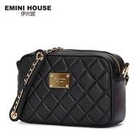 EMINI HOUSE New Diamond Lattice Genuine Leather Shoulder Bags Fashion Chain Bag Women Messenger Bags Crossbody