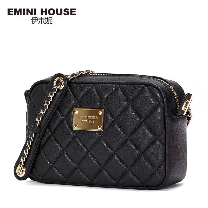 EMINI HOUSE Diamond Lattice Genuine Leather Shoulder Bags New Fashion Chain Bag Women Messenger Bags Crossbody Bags For Women 2017 fashion all match retro split leather women bag top grade small shoulder bags multilayer mini chain women messenger bags